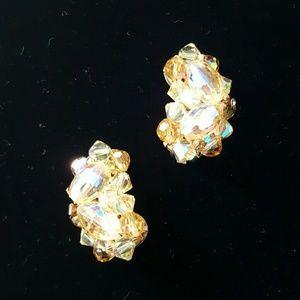 Vintage Crystal & Bead Clip-on Earrings